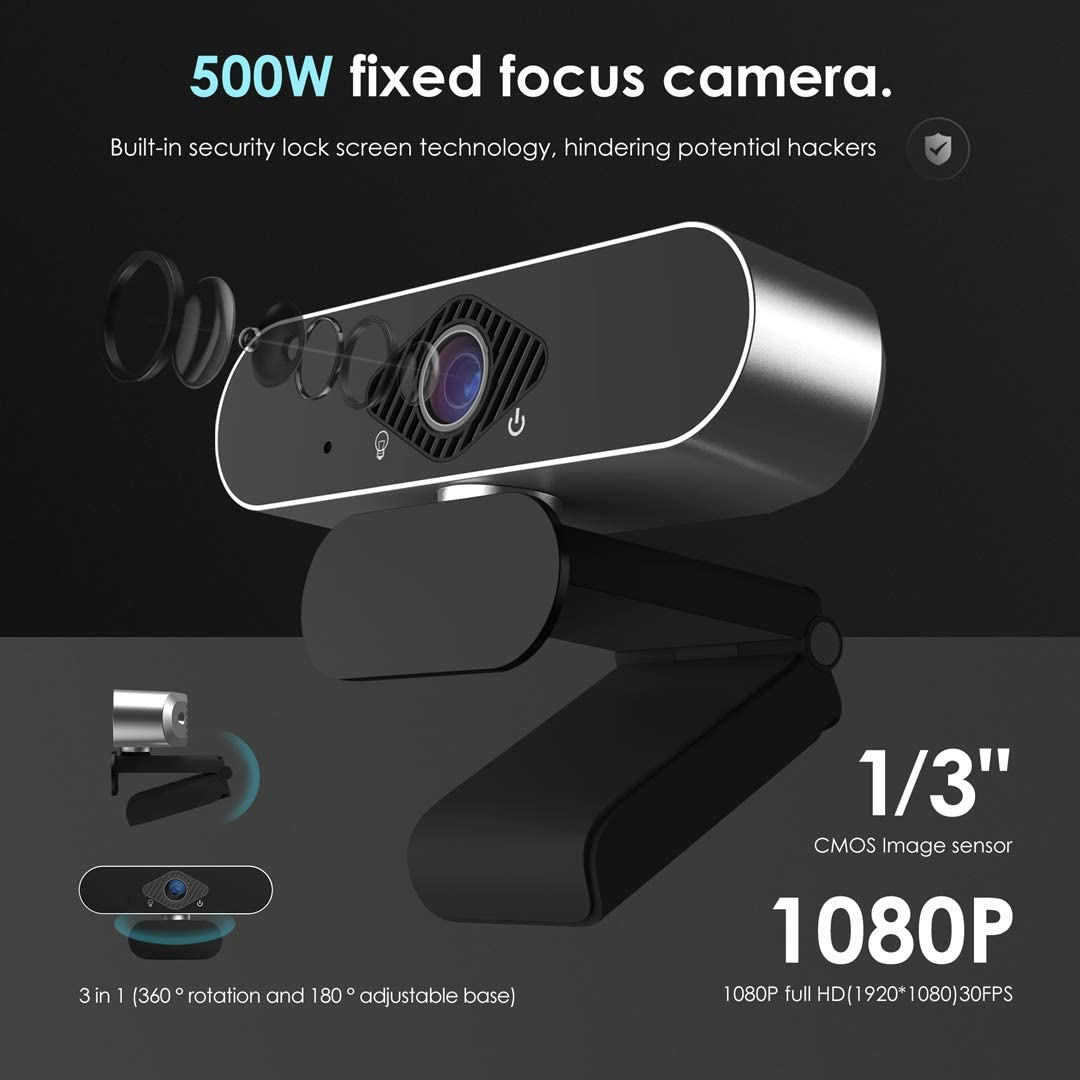 Video Calling Recording Remote Study and Work External USB Computer Camera with Microphone HD 1080p Webcam with Microphone for Desktop and Laptop Conferencing Web Camera for Streaming