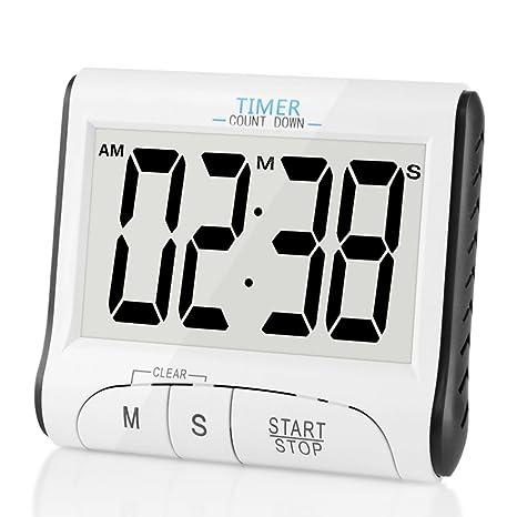 TOPSEFU Temporizador digital de cocina con cuenta atrás, cronómetro y alarma (pantalla grande,