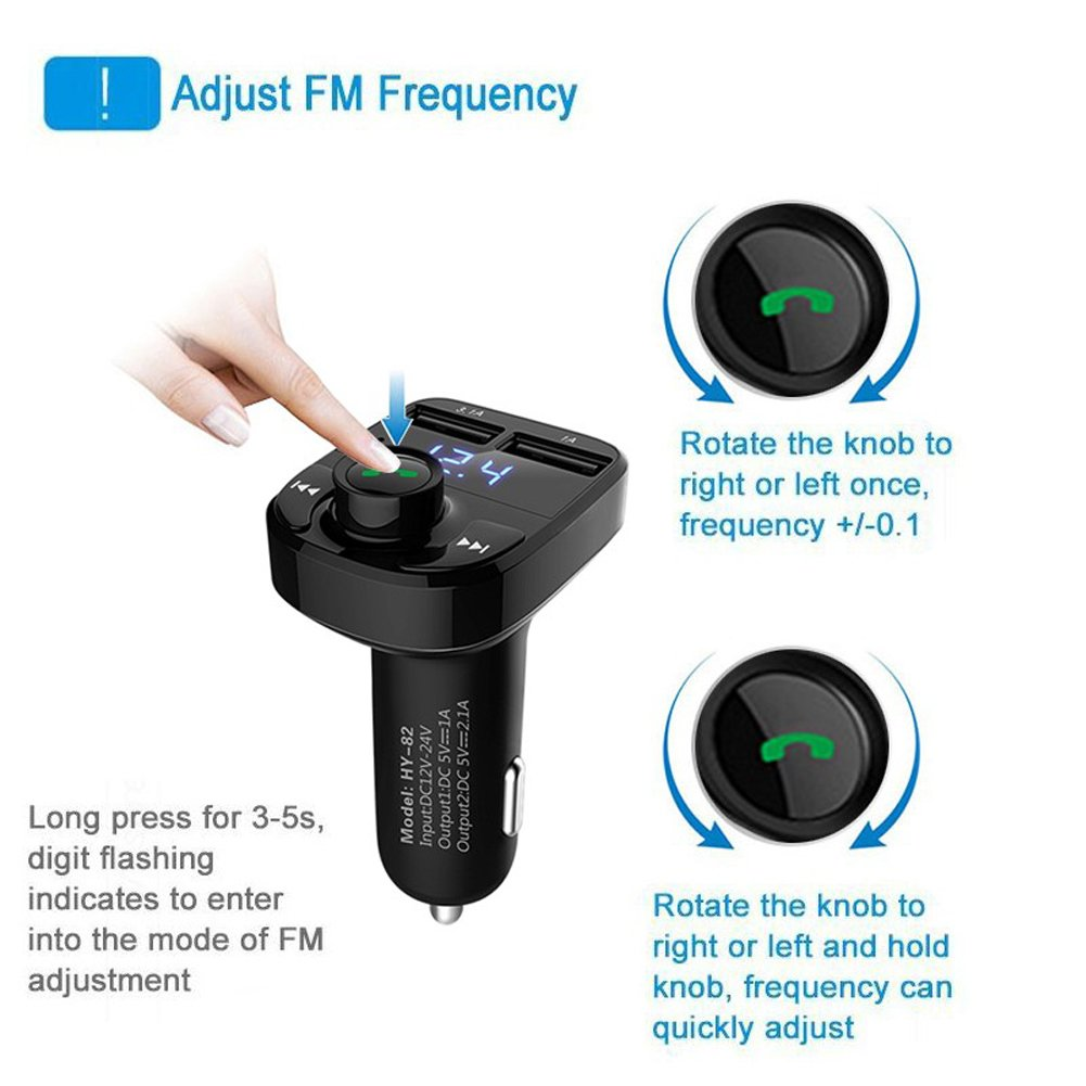 FM Transmitter Wireless Bluetooth FM Transmitter Car Kit Radio Adapter Receiver 4.2A USB Car Charger MP3 Music Player Read Micro SD Card USB Flash Drive and Battery Voltage by JINSERTA (Image #3)