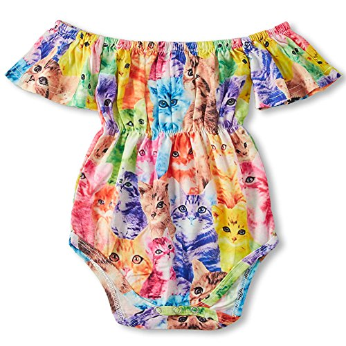 Price comparison product image BFUSTYLE Newborn Baby Girl Babe Pring Rainbow Cat Outfit Jumpsuit Red Small Floral Bodysuit for Girls Seaside with Press Button 70