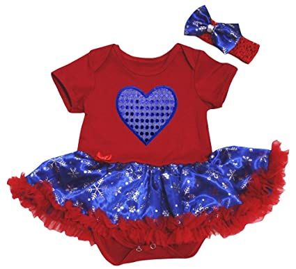 b38e18dfd Petitebelle Sequins Heart Red Cotton Bodysuit Blue Snowflake Baby ...