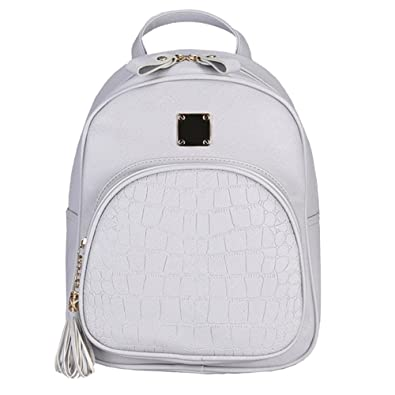 2befd1ddf437 Amazon.com  Tuankay Women Backpacks Fashion PU Leather Shoulder Bag Small  Backpack Embossed Bag Grey  Shoes