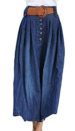 1400cc326ab Image Unavailable. Image not available for. Color  Papijam Womens Elastic  Waist Plus Size Button Pull On Pleated Denim Skirt ...