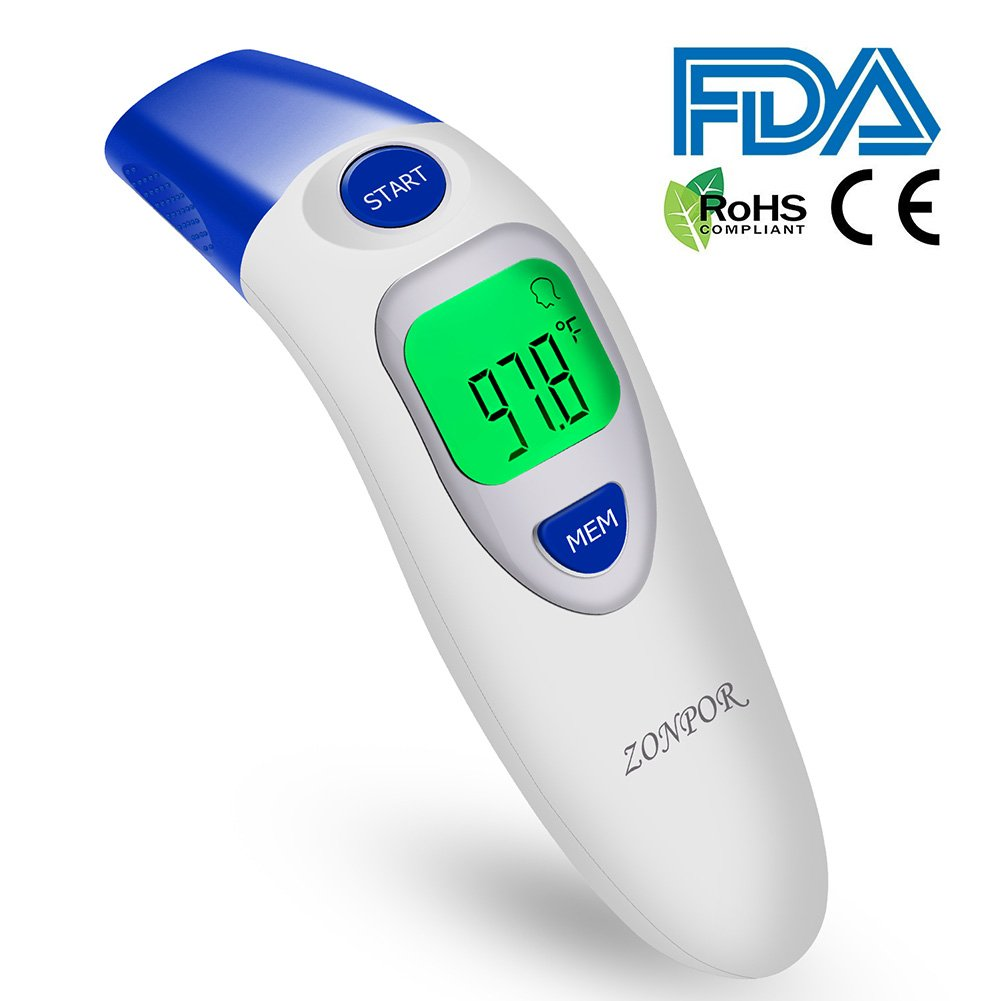Digital Forehead Thermometer, Zonpor Medical Infrared Baby Thermometer for Fever Kids/Adult with Ear Function Body Basal Thermometers Accurate Reading Medically Proven, FDA and CE Approved