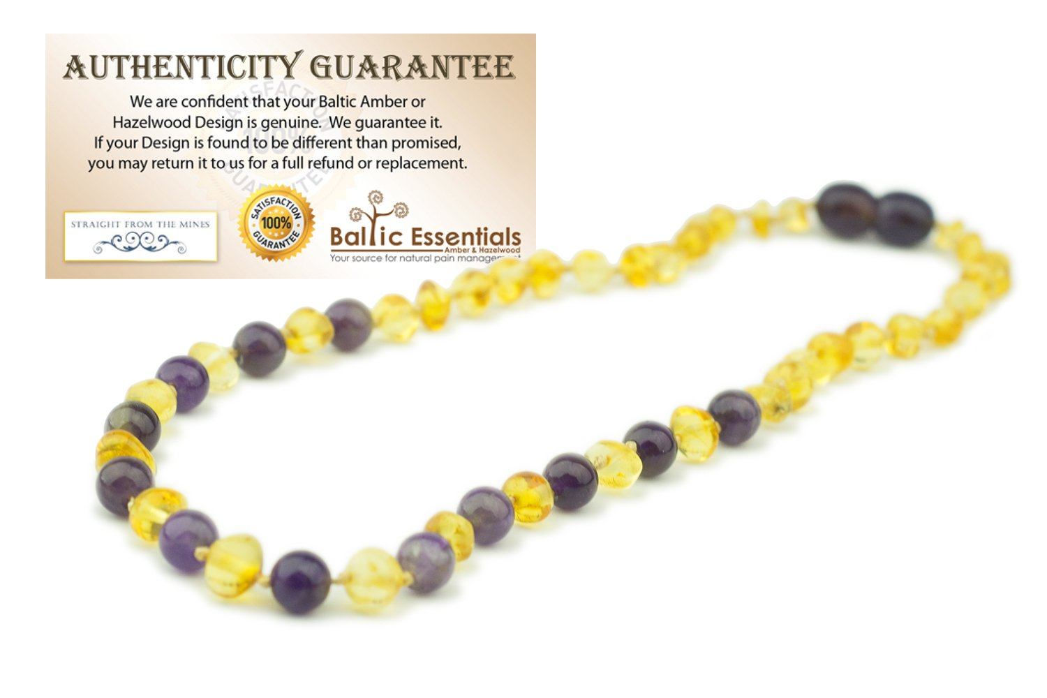 Baltic Amber Teething Necklace for Babies Yellow Lemon & Purple Amethyst (Sadness) - Baby Toddlers Polished Drooling Teething Pain Twist-in Screw Clasp! (Lemon Amethyst) sad Anger by Baltic Essentials