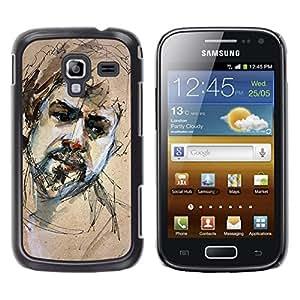 LECELL--Funda protectora / Cubierta / Piel For Samsung Galaxy Ace 2 I8160 Ace II X S7560M -- Sketch Portrait Beard Man Sad --