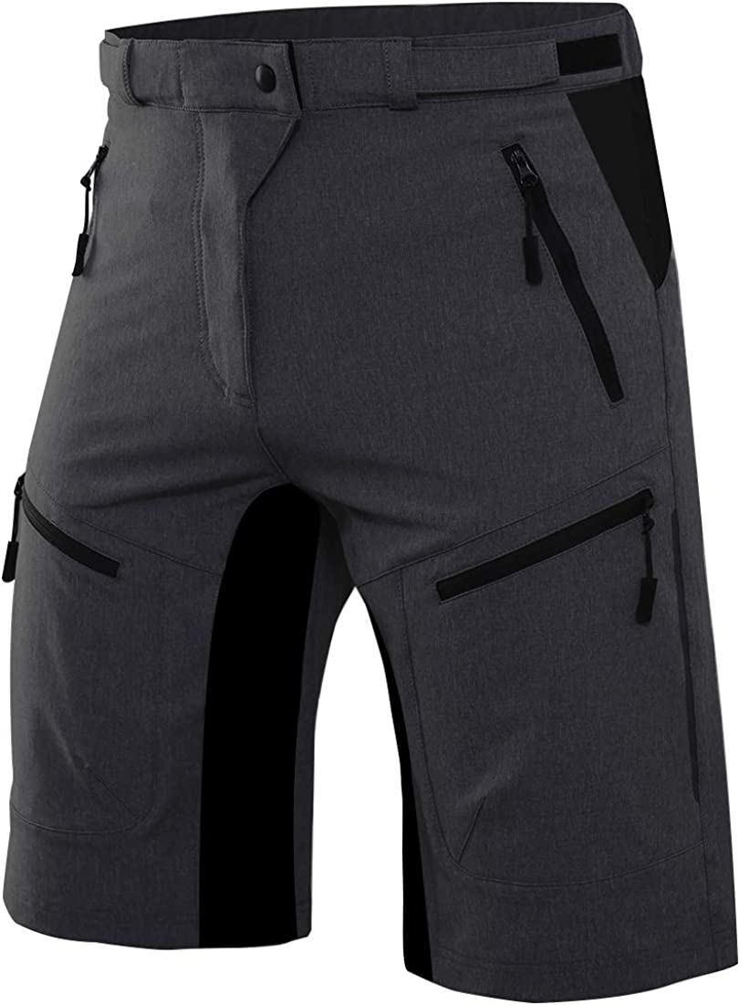 Men/'s MTB Mountain Bike Padded Cycling Shorts Bicycle Short Pants Zipper Pockets