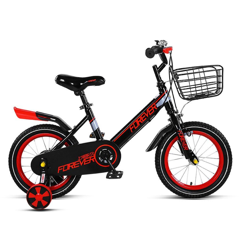 子供用自転車4-8歳の自転車16インチの男の子と女の子の赤ちゃんキャリッジハイカーボンスチールバイク、ピンク/ブラックレッド/オレンジグリーン (Color : Black and red) B07CVTSQN5