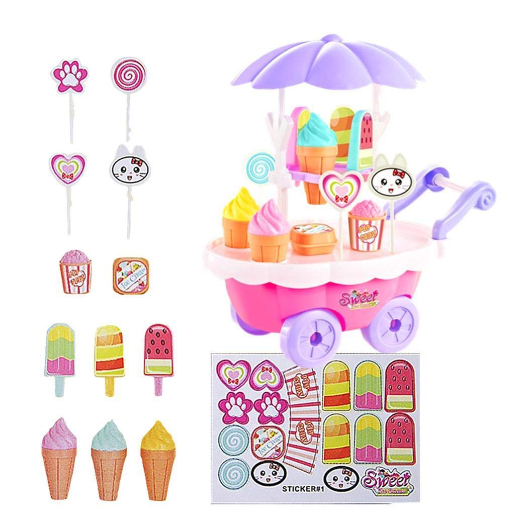 dozenla 28 Pcs Children Ice Cream and Candy Mini Cart Ice Cream Cart Toy Set DIY Assembly Pretend Play Food Sets for Girls and Kids
