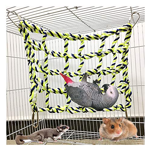 Naiflowers Canary Toys Small Animal Activity Chew Toy, Rat and Ferret Cotton Rope Nets Parrot Bird Hanging Perch Rope Small Animal Climbing Net Hamster Hammock Pet Play Toy (Multicolor)