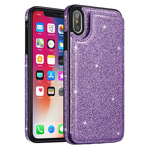 (UEEBAI Case for iPhone XR, Premium Glitter PU Leather Case Back Wallet Cover [Two Magnetic Clasp] [Card Slots] Stand Function Durable Shockproof Soft TPU Case for iPhone XR - Purple#2 )
