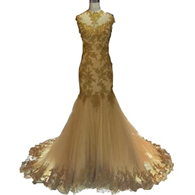 DingDingMail High Neck Lace Mermaid Gold Prom Dresses with Cap Sleeves Backless Evening Dresses Long