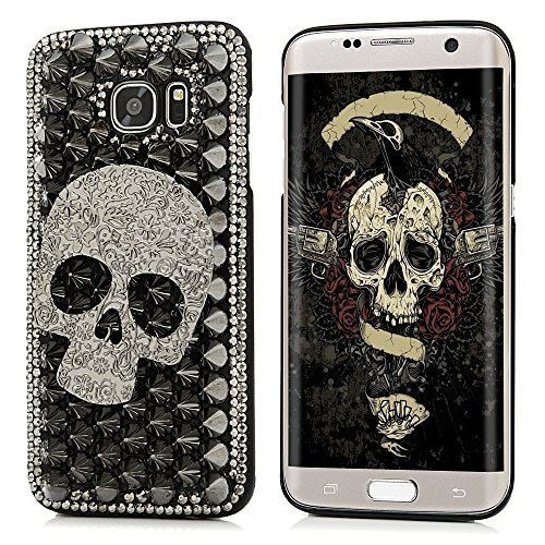 S7 Edge Case,Galaxy S7 Edge Case – Mavis's Diary Halloween Series 3D Handmade Punk Style Cool Skull with Silver Metal Rivets Diamonds Design Hard Blac…