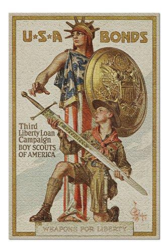 USA - Third Liberty Loan Campaign - Boy Scouts of America - (artist: Leyendecker c. 1918) - Vintage Propaganda (20x30 Premium 1000 Piece Jigsaw Puzzle, Made in USA!)