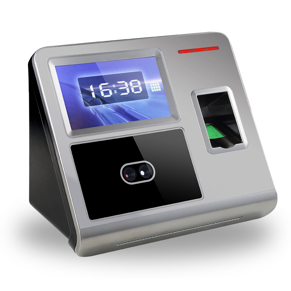 Aibecy Face Fingerprint Password Attendance Machine Employee Checking-in Payroll Recorder TCP/IP 4.3 inch HVGA Screen DC 12V Facial Recognition Time Attendance Clock