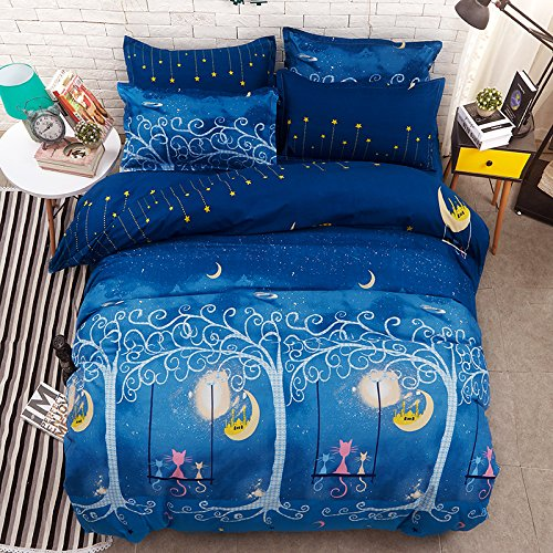 "Cheap KFZ Bed SET Bedding Duvet Cover Set Flat Sheet Pillowcase No Comforter Twin Set Size Sheets Set Animal Cat Moon Design Blue Color for Kids Adults Teens (Cat MoonBlue, Twin, 58""x79"", 3pcs) for sale"