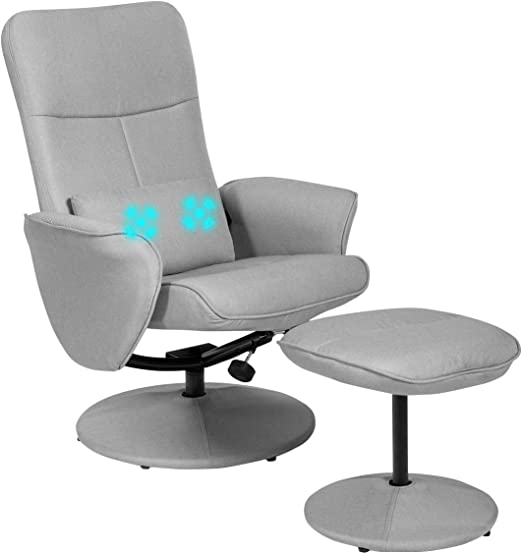 Giantex Swivel Recliner Chair w//Ottoman Faux Leather Lounge Armchair with Wrapped Base Massage Lumbar Cushion Padded Armrest Headrest Gaming Massage Recliner and Stool Footrest Set