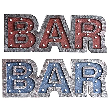 Indhouse - Set de 2 Carteles Luminosos en Madera Bar: Amazon ...