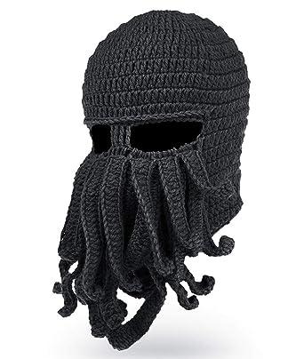 42fc72c6505 Maylisacc Winter Octopus Tentacle Balaclava Knit Beard Beanie Hat Black   Amazon.co.uk  Clothing