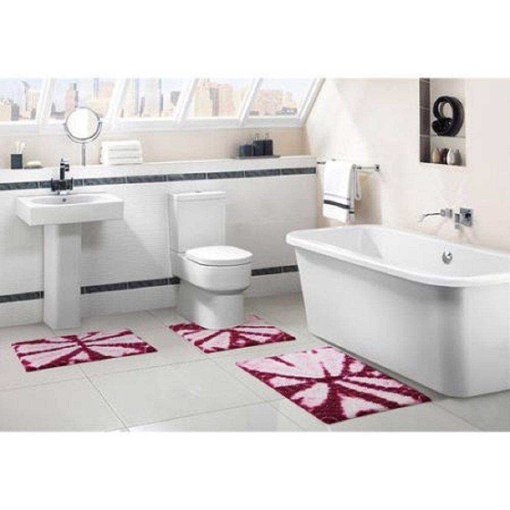 Victoria Classics Bali Tie-Dye Cotton 3-Piece Bath Rug Set Fuchisa