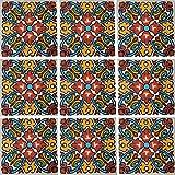 """Color y Tradicion 9 Mexican Tiles 4"""" x 4"""" Hand Painted Talavera C207"""