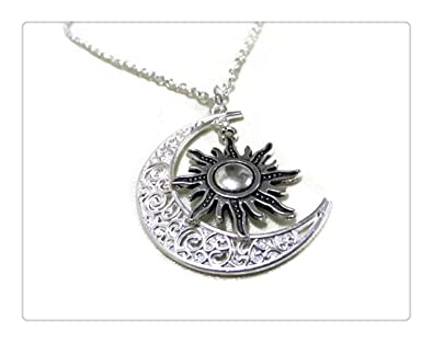 9a83b8becc Image Unavailable. Image not available for. Color: Moon and Sun Necklace ...
