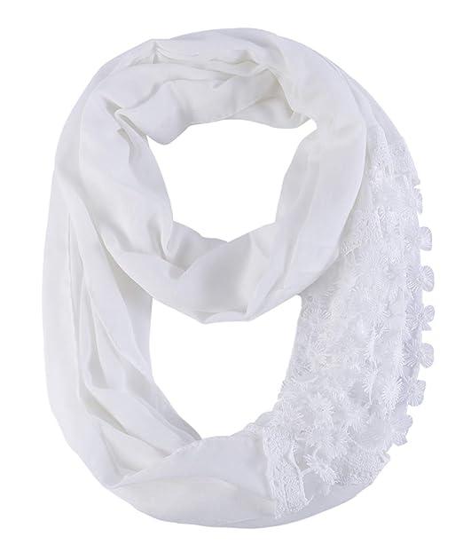 712996bc2 Amazon.com: Lightweight Lace Infinity Scarf Women -Elegant White ...