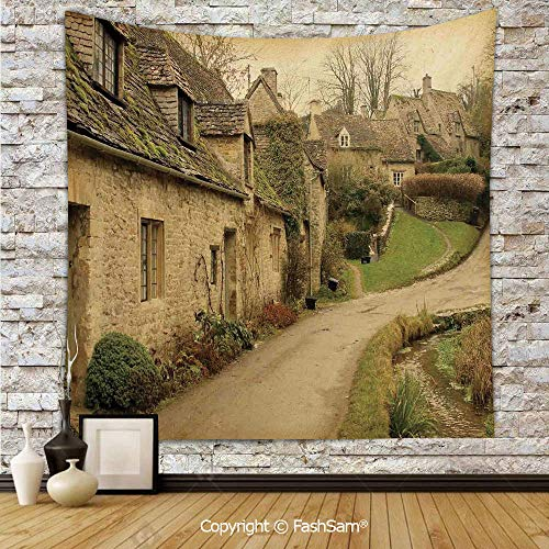 FashSam Tapestry Wall Hanging British Town with Stone Houses Retro England Countryside Buildings Image Tapestries Dorm Living Room Bedroom(W59xL78) ()