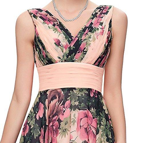 Largo Karin Estampado Rosa Mujer de de Noche Elegante Vestido Floral Vestido Grace qEw6gpg