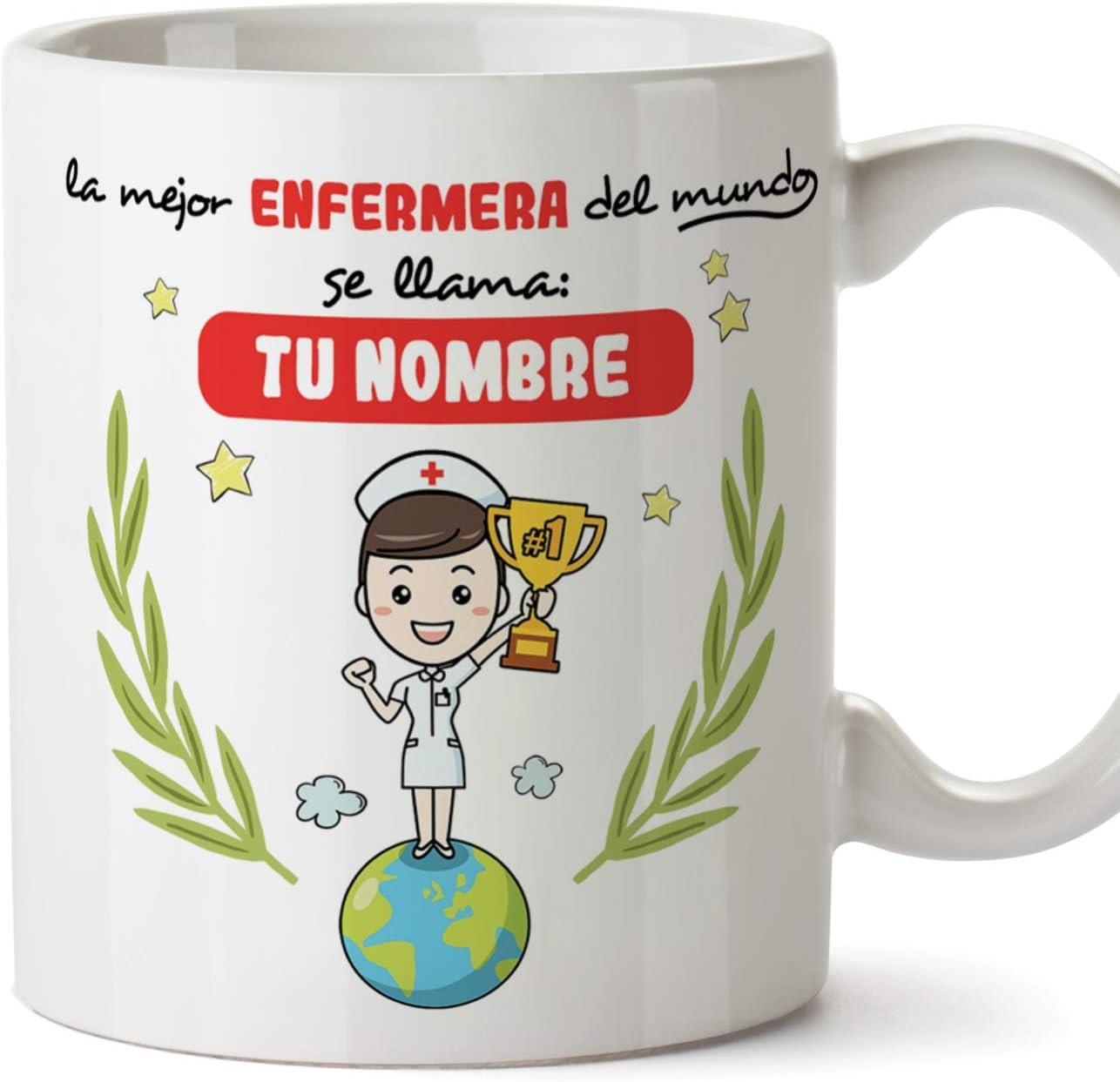 MUGFFINS Enfermera Tazas Originales Personalizadas con tu Nombre de café y Desayuno para Regalar - Esta Taza Pertenece a la Mejor Enfermera del Universo - Cerámica 350 ml - Enfermería Personalizable