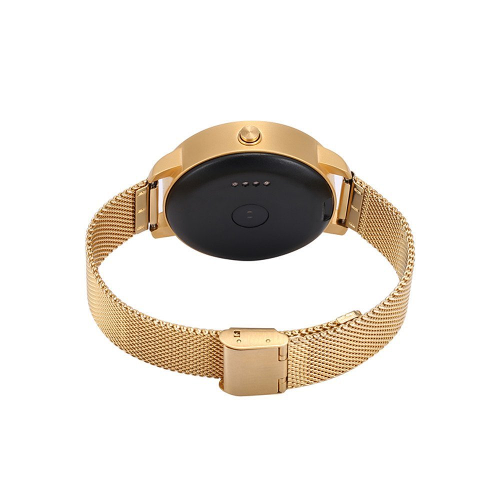 Hipipooo V360 Round Smartwatch Calorie Pedometer Sleep Monitor Pedometer Remote Control Voice Control Bluetooth 4.0 (Gold)