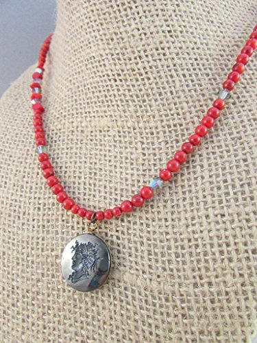- Antique Glass Hematite Lady Cameo Pendant, Dyed Red Bamboo Coral Necklace, Swarovski Crystal