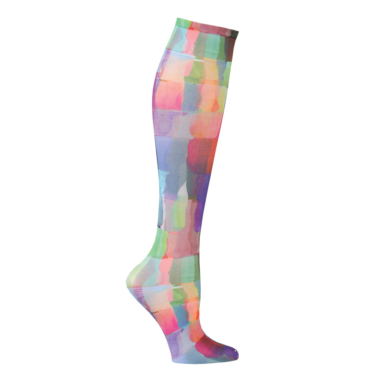 Celeste Stein Mild Compression Knee High Stockings, Wide Calf - Rainbow Tiles