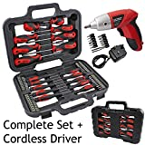 Spares2go Complete Magnetic Screwdriver & Bit Tool Kit + Mini Cordless Rechargeable Electric Screwdriver
