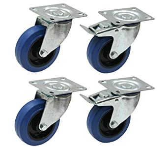 Juego de cuatro - caucho azul de 100 mm Ruedas Flight case - Ruedas elásticas pesadas