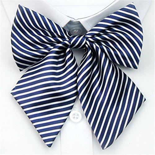 (Women Japanese School Uniform Embroidery Bowties (one size, Dark Blue Narrow Stripes) CA114-2)