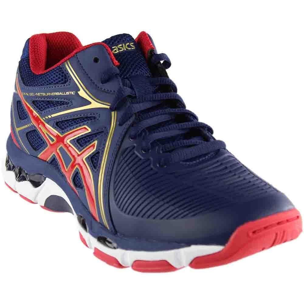 ASICS Men's Gel-Netburner Ballistic MT Volleyball Shoe, Indigo Blue/Prime Red/Rich Gold, 6.5 Medium US