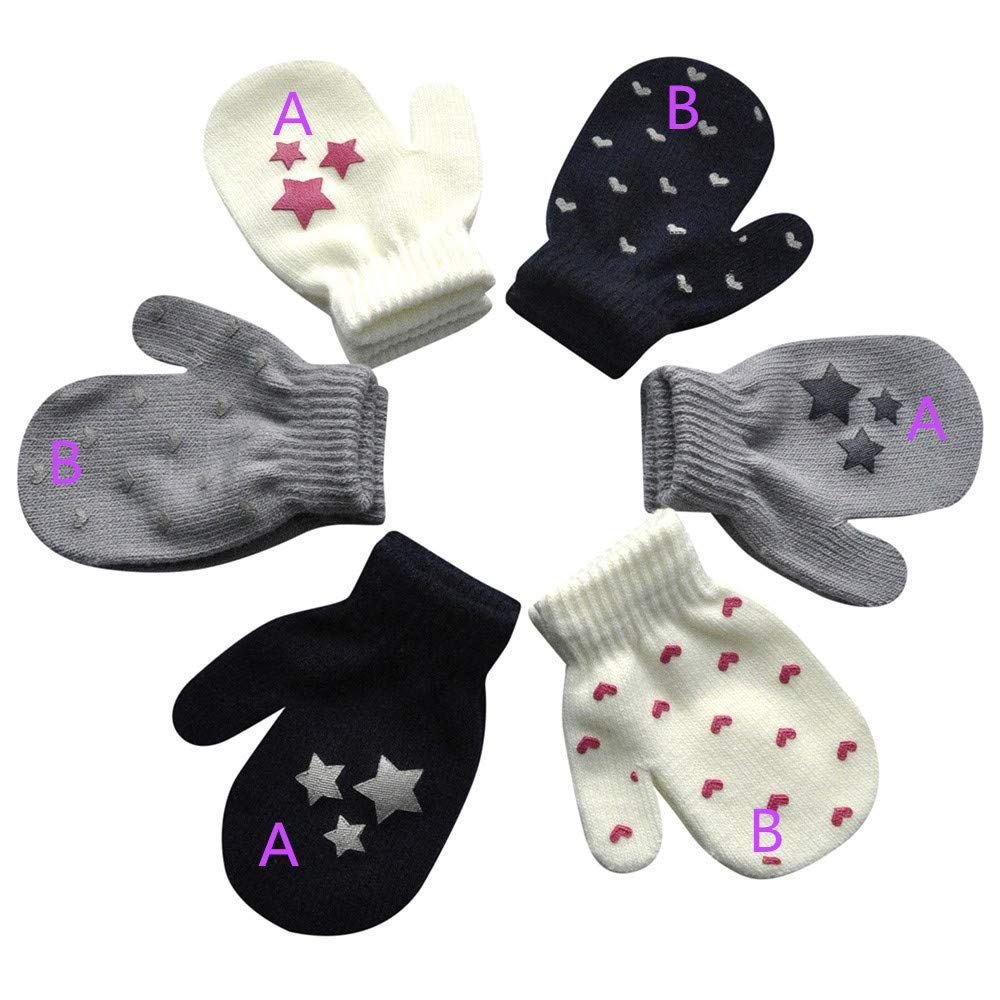 LEXUPE Infant Baby Cute Star Print Hei/ße M/ädchen Jungen Winter Warme Handschuhe