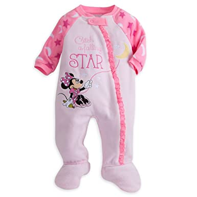 24fe69c0ff Amazon.com  Disney Store Minnie Mouse Snap Blanket Sleeper Footed for Baby ( Minnie)  Clothing
