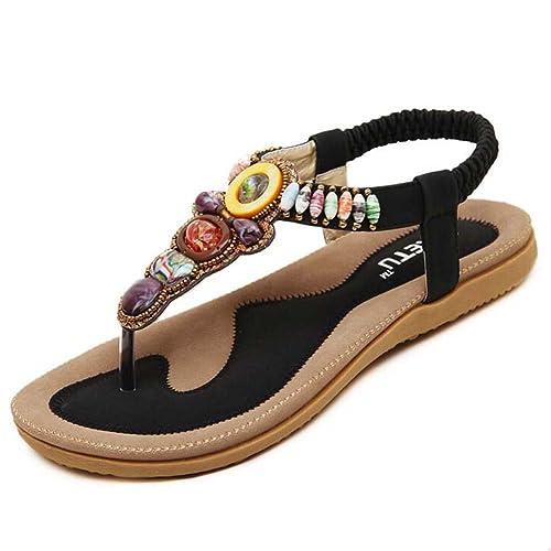 58a8a06500e Hattie Women s Bohemian T-Strap Sandles Summer Beach Beaded Flip Flops Black