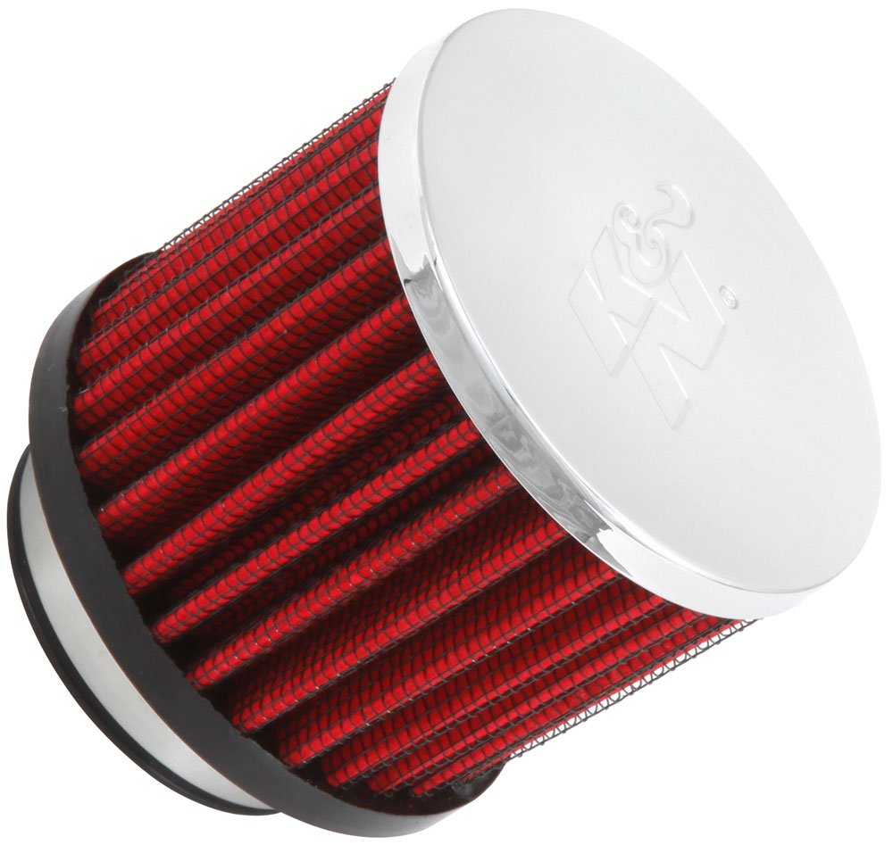 K&N 62-1480 Vent Air Filter / Breather: Vent Air Filter/ Breather; 1.75 in (44 mm) Flange ID; 2.5 in (64 mm) Height; 3 in (76 mm) Base; 3 in (76 mm) Top