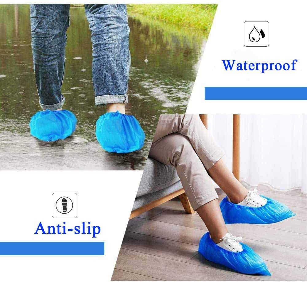 EZLIFE Lot de 100 prot/ège-chaussures jetables antid/érapants et imperm/éables Taille unique Taille plus grande Couvre-chaussures jetables 16 x 50 cm