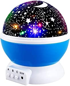 Star Night Lights for Kids, Star Nightlight Projector Rotating Starry Nursery Lamp for Bedroom Toys for 3-12 Year Old Boys Girls 3 4 5 6-12 Year Old Girls Boys Gift Christmas Xmas Gifts for Kids Blue