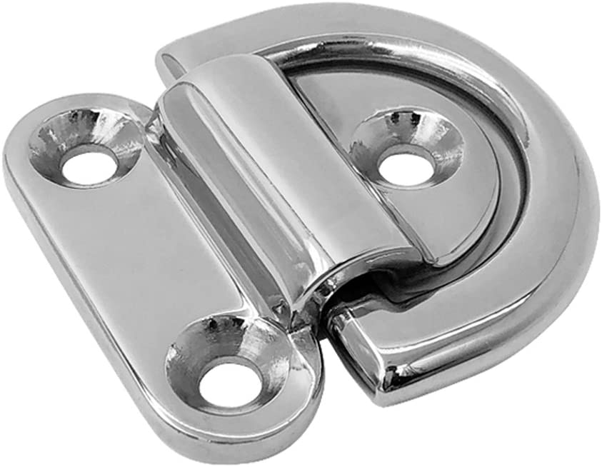 4pcs 1//4inch Stainless D Ring Tie Down Anchor for Cargo Trailer Marine Boat RV with Mounting Bracket