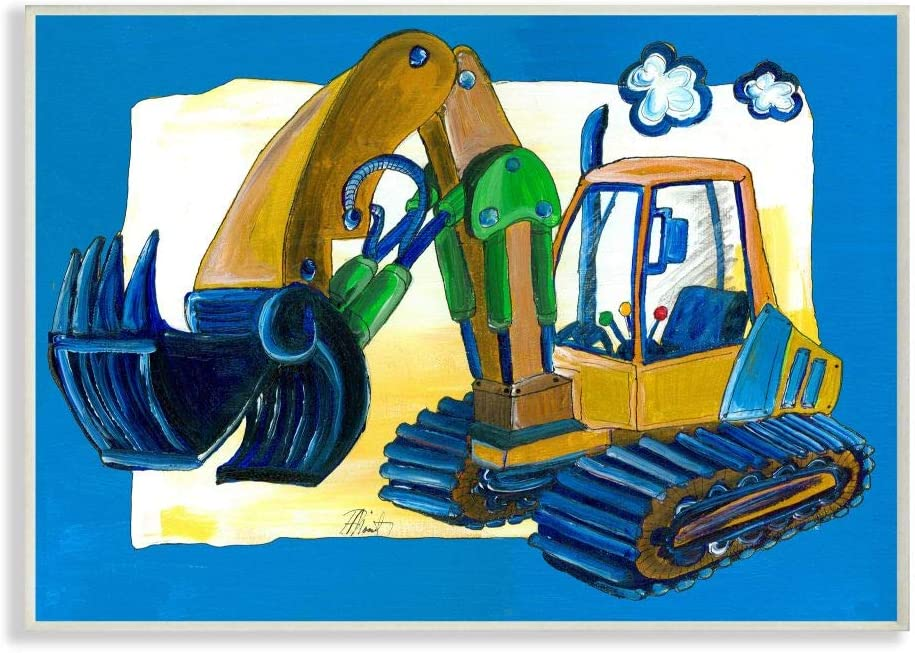 The Kids Room by Stupell Yellow Excavator with Blue Border Stretched Canvas Wall Art, 16 x 20, Multi-Color