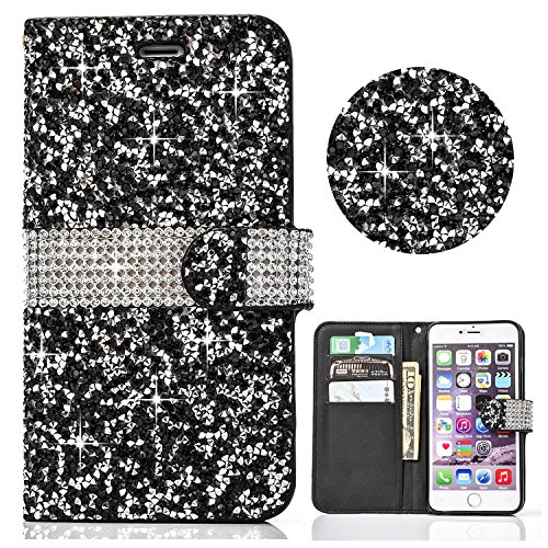 iPhone 6S Plus/6 Plus 5.5 inch Case Bling,Shinetop Luxury PU Leather 3D Diamond Glitter Rhinestone Wallet Case Card Holders Magnetic Flip Folio Cover Protective Skin with Kickstand Feature-Black