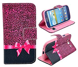 WeCC Cute Small Leopard grain Bow PU Leather Stand Card Wallet Case Cover for galaxy Samsung S3 i9300 and One Gifts-l