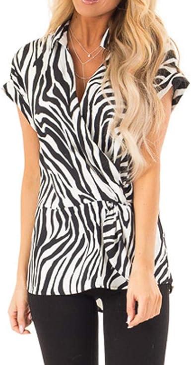 JURTEE Camisa Mujer Elegante Moda Cuello En V Estampado De Cebra Camiseta De Solapa Manga Corta Tops Oficina Blusa: Amazon.es: Ropa y accesorios