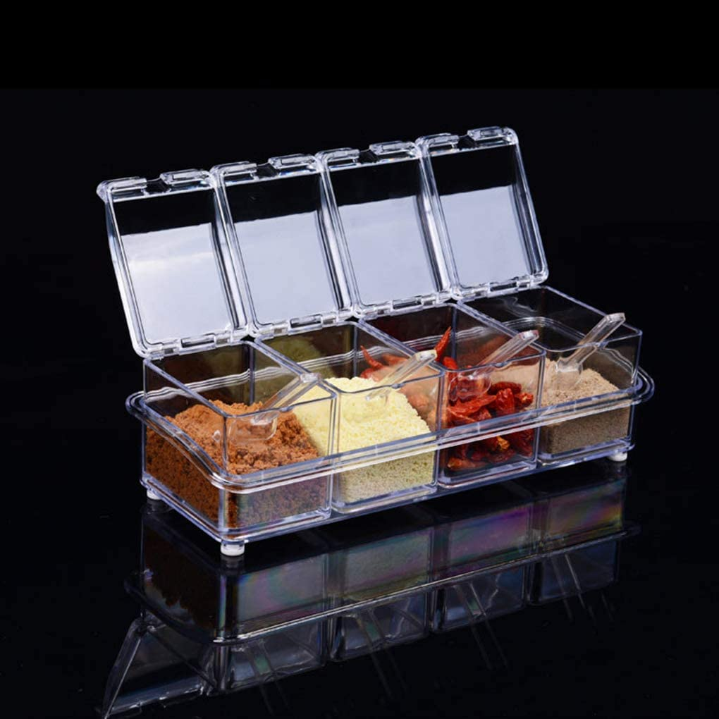 Hotaluyt 4 in 1 Transparent K/üche Gew/ürzdose Gew/ürzk/ästen Mit L/öffeln Salz Menage Dosen Container