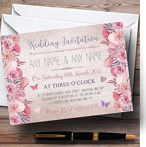 Blush Dusty Pink & Lilac Vintage Watercolour Floral Personalized Wedding Invi. -